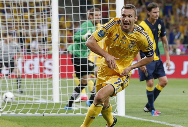 Ukraine's Shevchenko celebrates his second goal during game against Sweden at their Group D Euro 2012 soccer match at Olympic Stadium in Kiev