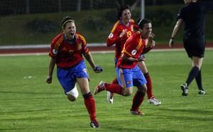 Vero Boquete celebrando el gol que clasificó a España para su segunda Eurocopa / Dani Sánchez- As.