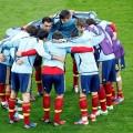 La selección española haciendo piña para enfrentarse a uno de sus rivales.