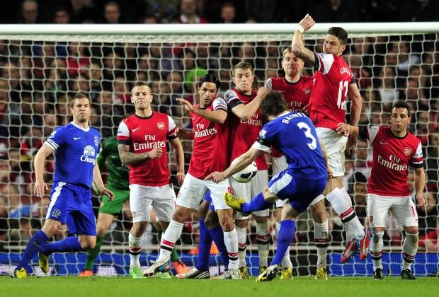Leighton Baines lanzando una falta ente el Arsenal (Foto: www.sportskeeda.com/Getty Images)