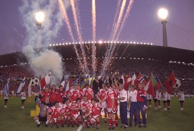 Dinamarca festejando la consecución de la Eurocopa