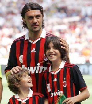 Paolo Maldini con su hijo Christian