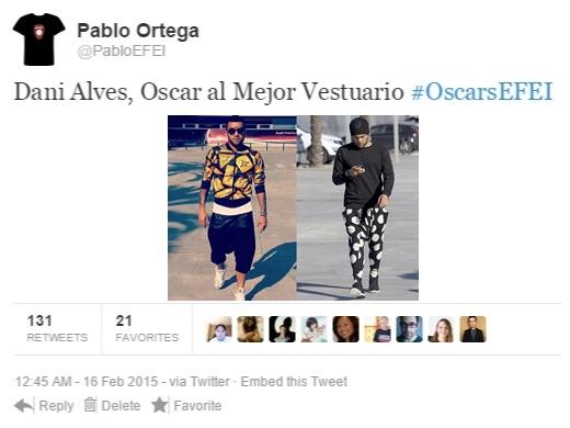 Tuit Dani Alves Oscar Vestuario