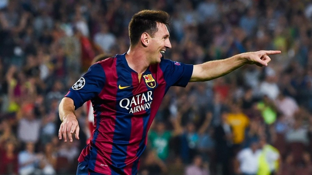 Messi agradeciendo asistencia