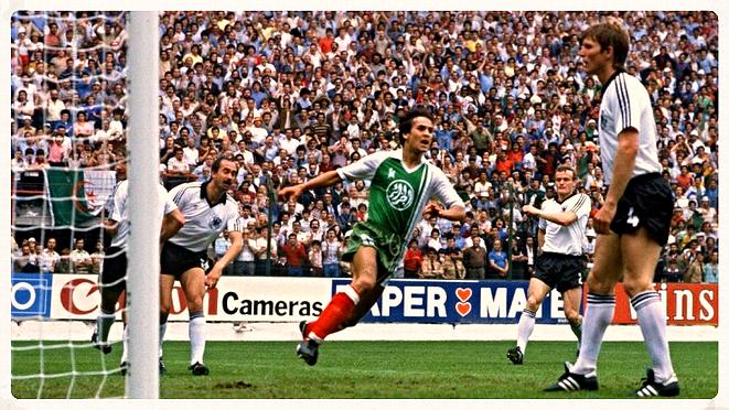 Gol Madjer a Alemania en el Mundial España 82